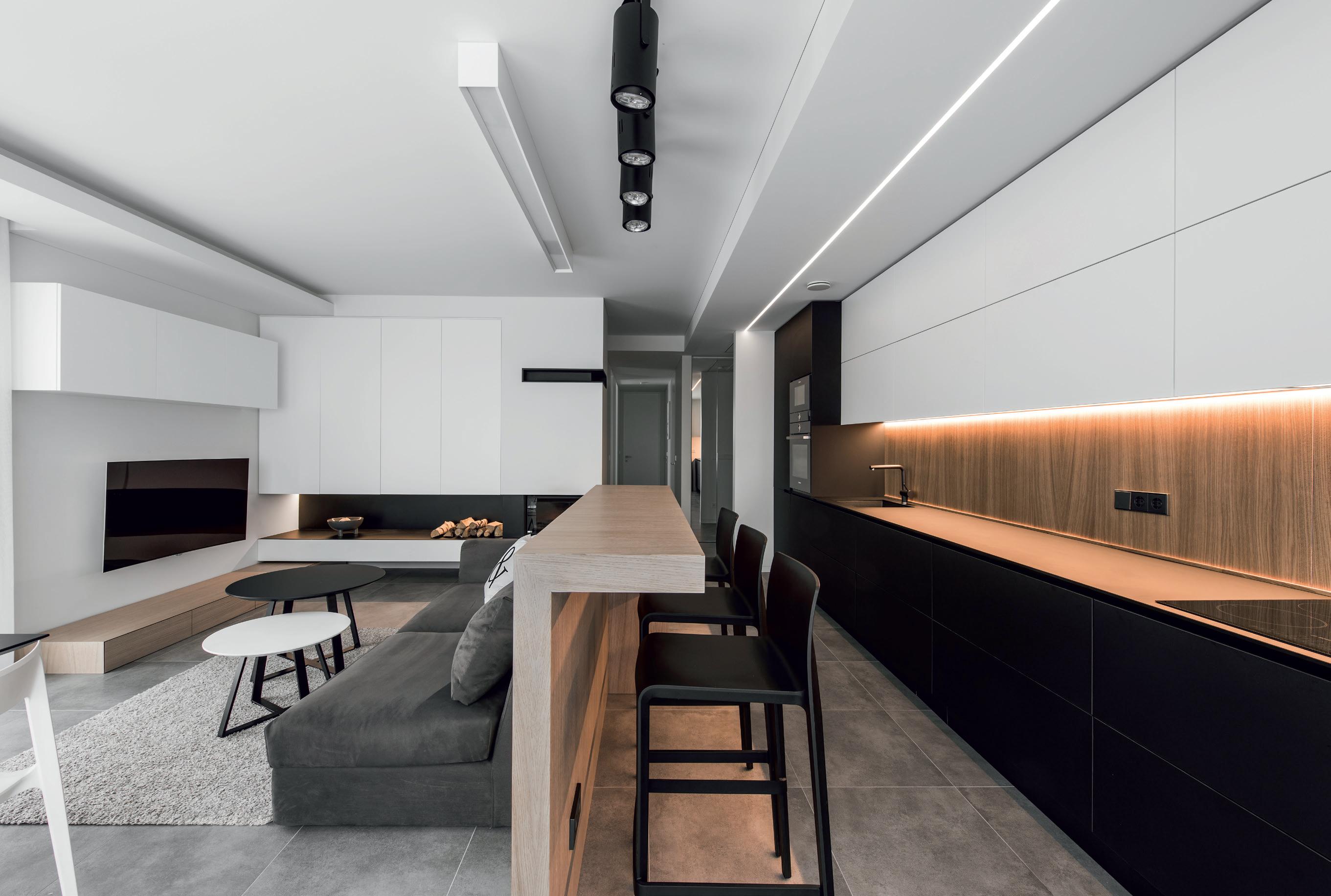 Vientisa virtuvės ir svetainės architektūra. Aut. Rimantas Špokas