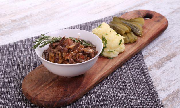 Tradicinis jautienos befstrogenas su bulvių koše