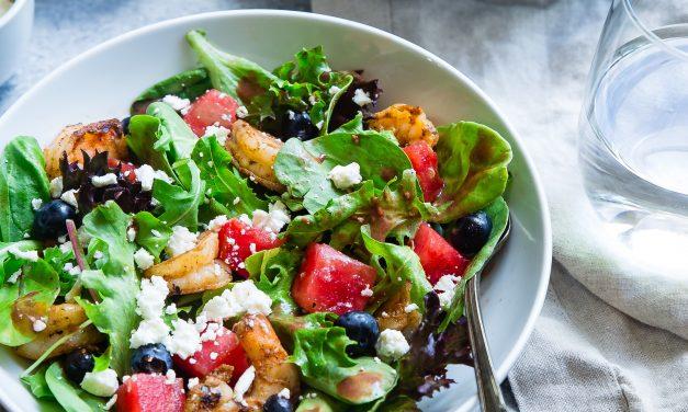Krevečių ir arbūzų salotos