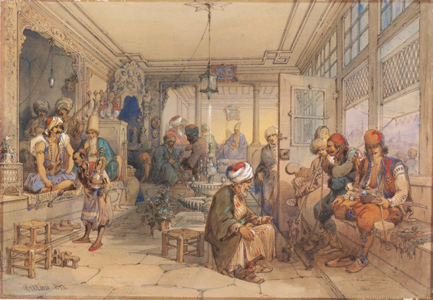 Kavos namų Konstantinopolyje vaizdas. Dailininkas Amadeo Preziosi, 1854 m.