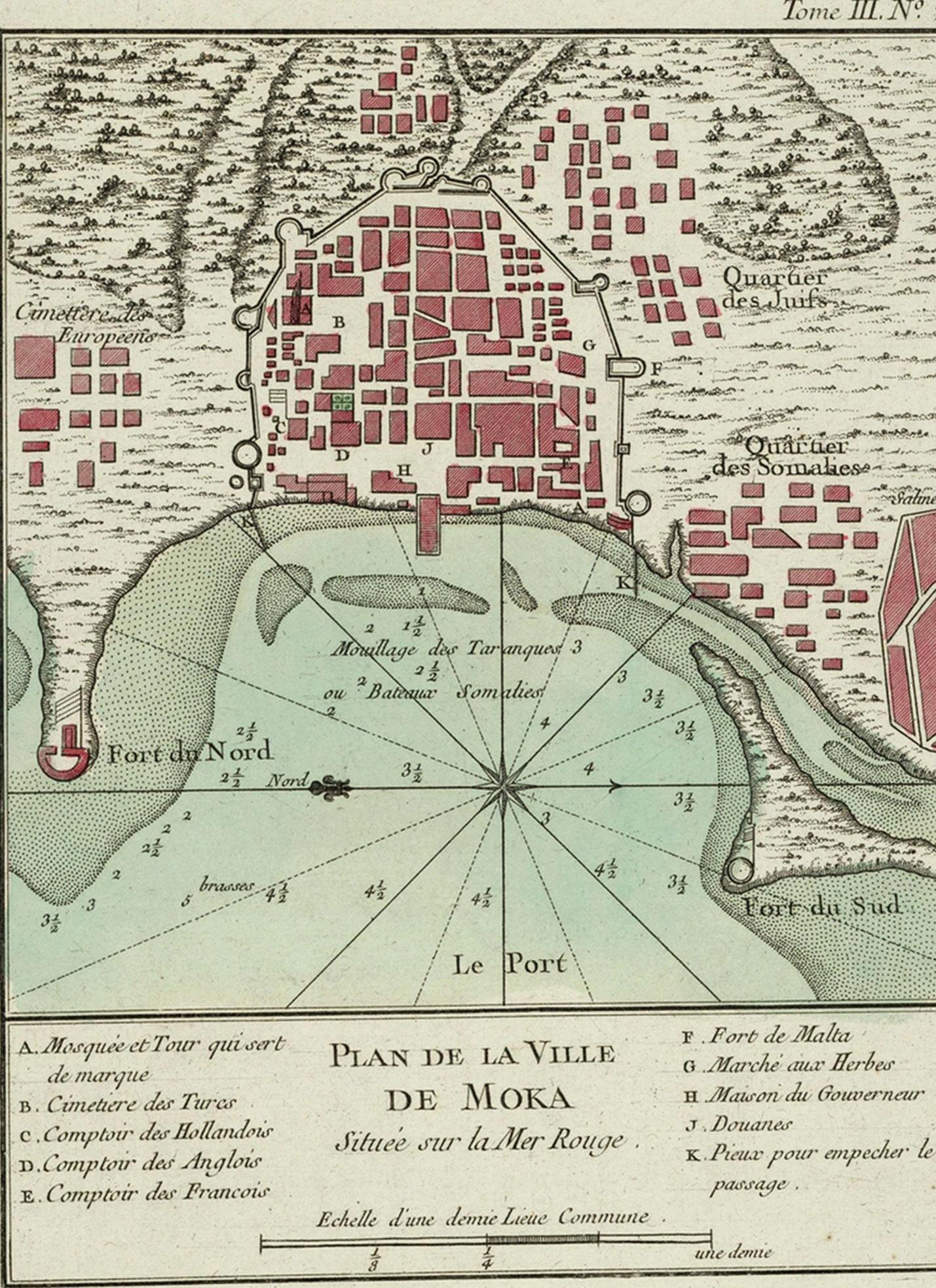 """Mokos uostamiesčio, iš kurio kava atkeliaudavo į Europą, planas. Jacques'as-Nicolas Bellinas, """"Le petit atlas maritime..."""", Vol. III, pl. 20, Paris, 1764 m."""