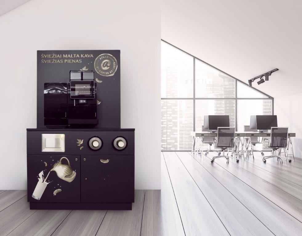 """Specializuotas kavos kampelis """"Atlas"""" – universalus, savitarnai pritaikytas sprendimas biurams, didelėms organizacijoms ir viešosioms erdvėms"""