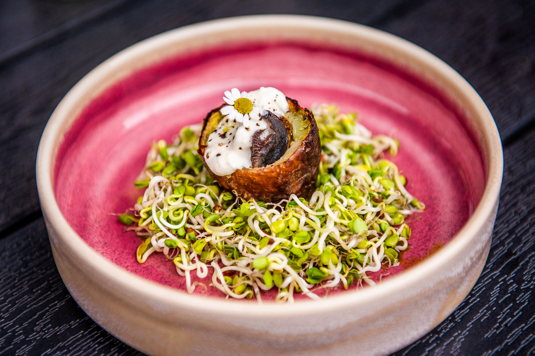 Ant anglies keptos bulvės užkandis su sraigėmis ir kąstiniu